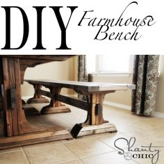 Learn how to build farmhouse dining benches! FREE plans and tutorial at Shanty-2-Chic.com