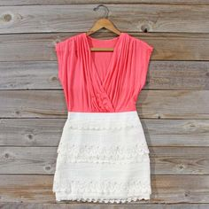 Tucked Lace Dress in Watermelon,