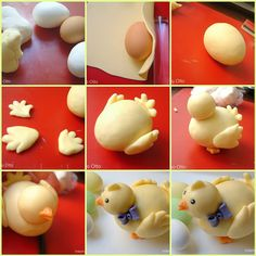 how to make a baby chicken. I like that an empty egg is being used for the main body - makes the figure much lighter