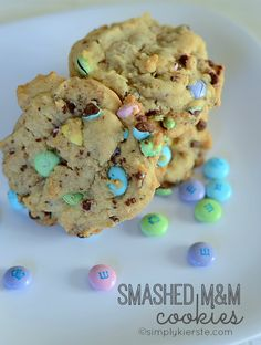 Cookie Recipes | Fabulous Smashed M&M cookies that are easy to make, and full of lots of bits and chunks of chocolate and candy! Great for left over Easter Candy!