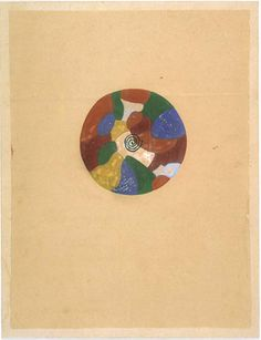 ANONYMOUS: tantric painting (9–5); Legend: Energy traveling through, and regulating the colors of the world; Udaïpur, Rajasthan, 1970