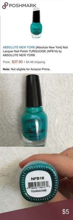 """B2G1FREENAILSAbsolute NY Tourquoise Polish ALL COSMETIC LISTINGS  FACEEYESNAILSLIPSHAIR SKIN✋TOOLSBuy 2 Get 1 Free! ➕ Makeup Bag  This Listing: Absolute New York Nail Lacquer in """"Tourquoise"""" A very pretty turquoise cyan color. Brand new, never used.  NO PayPal or Trading Absolute New York Makeup"""