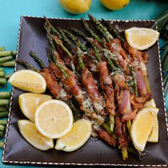 Mario Batali's Asparagus Wrapped in Pancetta with Meyer Lemon Citronette - the chew The Chew Recipes, Gourmet Recipes, New Recipes, Favorite Recipes, Healthy Recipes, Yummy Recipes, Healthy Food, Side Salad Recipes, Side Dish Recipes