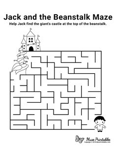 Free Printable Jack and the Beanstalk Maze Fairy Tale Activities, Educational Activities For Kids, Fun Learning, Preschool Projects, Free Preschool, Mazes For Kids Printable, Free Printable, Maze Book, Maze Worksheet