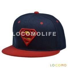 Men Women Embroidered Superman Logo Snapback Baseball Cap Blue