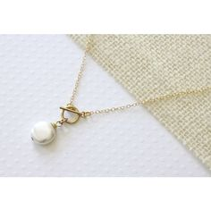 Front Closure Necklace, Gold Filled Toggle Clasp, Coin Pearl Necklace,... ($28) ❤ liked on Polyvore featuring jewelry, necklaces, pearl jewellery, toggle jewelry, gold filled necklace, coin jewellery and coin jewelry