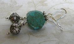 Handmade Beaded Earrings Turquoise Silver by bdzzledbeadedjewelry Handmade Beaded Jewelry, Unique Jewelry, Beaded Earrings, Beaded Bracelets, Turquoise Bracelet, Charmed, Handmade Gifts, Silver, Inspiration
