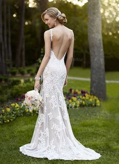 Forme Fourreau Col V alayage/Pinceau train Tulle Robe de mariée avec Dentelle (0025055894)