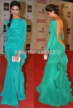 Mint Green Mermaid Prom Dresse Long Sleeve Evening Elegant Long Backless Celebrity Dress vestido formatura 2015