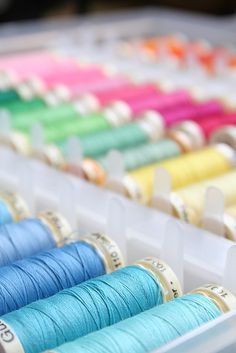 Ribbon Embroidery For Beginners These are the only sewing threads I will use. Others jam up my sewing machine. Sometimes a little hard to find, but worth the effort. Sewing Hacks, Sewing Crafts, Sewing Projects, Pastel Colors, Rainbow Colors, Pastels, Pastel Shades, Yarn Thread, Thread Spools