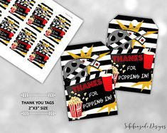 Movie Clipart Movie Night Clip Art Popcorn Clipart Cinema | Etsy Movie Party Favors, Movie Night Party, Party Favor Tags, Movie Clipart, Birthday Thank You, Thank You Tags, Digital Invitations, Party Signs, Party Printables