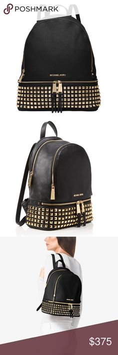 """♦️SALE♦️✨HP✨Michael Kors 'Rhea' Zip Small Backpack ✨Dimensions: 11-1/2"""" W x 9"""" H x 4-1/2"""" D ✨Interior features 1 zip pocket, 3 open pockets and key chain ✨Adjustable backpack straps ✨Exterior features gold-tone hardware, stud accents ✨Soft Venus leather; lining: polyester ✨Currently in protective wrapping, but will be taken out of that wrapping and placed in dust bag upon purchase Michael Kors Bags Backpacks"""