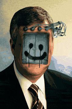 """La obra de la artista serbio, Milos Rajkovic aka Sholim, se puede calificar como """"Friki gifs rayantes"""" y seguramente estaremos de acuerdo. Su trabajo se ve como la visión de un científico loco que a políticos, adictos del trabajo, o militares les rebanan la cabeza y le sustituyen el cerebro por engranajes, palancas y artefactos sin sentido... Gifs animados locos, rayantes e inteligentes."""
