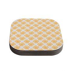 Kess InHouse Apple Kaur Designs 'Sunburst' Gray Coasters