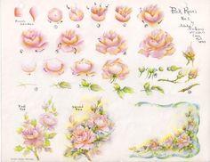Gladys Galloway China Painting Study No 5 Pink Roses Pattern Instructions   eBay