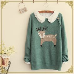 """"""" Green Sweater With Deer """""""