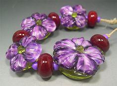 HANDMADE LAMPWORK Beads SET Sculpted Flowers by DonnaMillard, $55.00