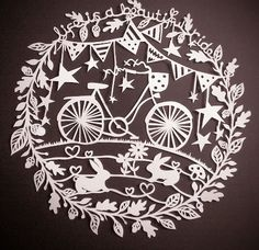 paper cut - bicycle, bunting and bunnies!
