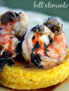 Polenta Pasticciata ai Funghi e Gamberi {Polenta with Mushroom and Shrimp Sauce}