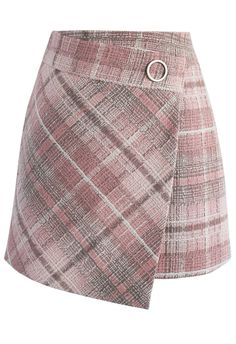 Tender  Tartan Tweed Flap Skirt in Pink - New Arrivals - Retro, Indie and Unique Fashion