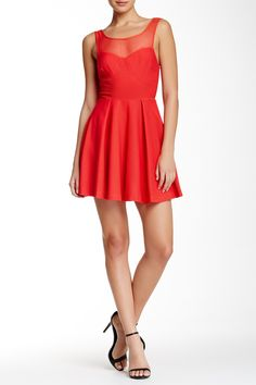 Sleeveless Mesh Yoke Flare Dress by BCBGeneration on @nordstrom_rack