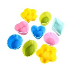 HOTER 1.18 Inch (3 cm) Oval-Shape Silicone Super Mini Cake Holders, Baking Cups, 4 pcs, Random Colors *** Check this awesome image  : Small Pastry Molds