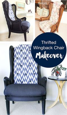 You gotta check out this amazing transformation! A beat up cane chair, thrifted online, ends up with a gorgeous two-tone chevron fabric and paint makeover! Thrifted Cane Wingback Chair Makeover by www.freshcrush.com