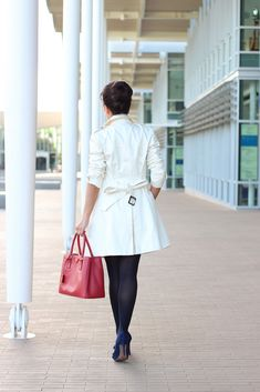 StylishPetite.com | Classic Trench Coat, Stripes and Bows