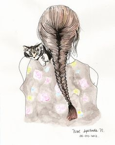Beautiful illustrations // girl with cat How To Draw Braids, How To Draw Hair, Videos Kawaii, Pencil Drawings Of Girls, Cat Hug, Girl Sketch, Sketch Inspiration, Animal Sketches, Cool Sketches