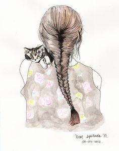 www.fregole.com drawing cat fishtail braid | Tumblr