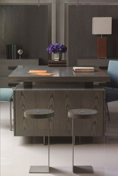 Check out this lovely furniture by Antoine Proulx. But you should expect nothing less! Office Suite, Home Office, Console Table, Furniture Making, Office Furniture, Partners Desk, Study Corner, Cabinet, Dining Area