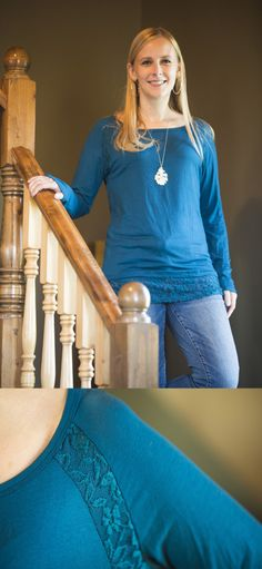 H&C Collection — Buehler Lace Detail Knit Top. Perfect color, fabric and length. The ideal long sleeve top for me.