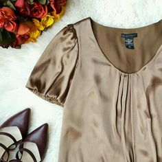 {New York & Company} Silky Loose Dress -Outer: 98% polyester, 2% spandex  -Lining: 100% polyester New York & Company Dresses
