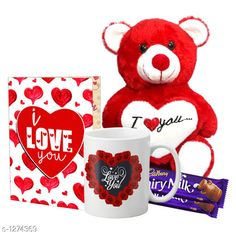 Accessories Delight Gifts(Pack Of 4)  Material: Mug - Ceramic Greeting Card - Paper Teddy Bear - Imported Size : Greeting Card : A4 Teddy Bear - 6 in           Capacity : Mug - 325 ml Description: It Has 1 Piece Of Mug & 1 Piece Of Greeting Card & 1 Piece Of Teddy Bear & 2 Pieces Of Chocolate Work : Mug - Printed Greeting Card - Printed Country of Origin: India Sizes Available: Free Size   Catalog Rating: ★4.1 (1539)  Catalog Name: Delight Gifts Combo Vol 8 CatalogID_161917 C127-SC1621 Code: 153-1274369-108