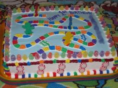 Be sure to capitalize on your Candyland Party theme with a fun and colorful Candyland cake.