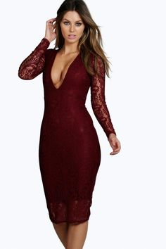b24e36c9c9 Sia Lace Long Sleeve Plunge Bodycon Midi Dress - Dresses - Street Style