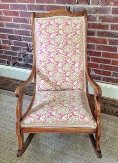 Wooden Rocking Chair Vintage Antique Upholstered Pink Green Rocker Nursery  Porch Library