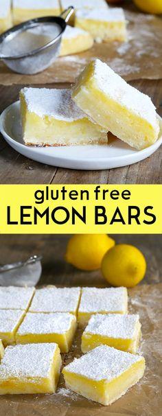 Une croûte citronnée sablés simple avec une tarte, rafraîchissant la crème de citron, ces barres de citron sans gluten sont si facile à faire.  Parfait pour tous les repas-partage!  http://glutenfreeonashoestring.com/gf-lemon-bars-for-dad-plain-lemons-for-me/