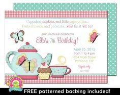 1ra invitación del cumpleaños del partido Tea por ForeverYourPrints