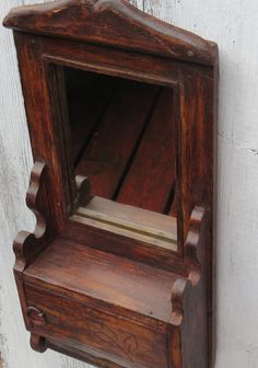 Rustic wall mirror vintage bathroom cabinet by ChippedPaints