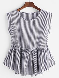 Casual Ruffle Hem and Belted Striped Flared Peplum Regular Fit Round Neck Sleeveless Pullovers Grey Regular Length Pinstripes Frill Hem Belt Top Hijab Fashion, Diy Fashion, Ideias Fashion, Fashion Dresses, Fashion Ideas, Fashion Black, Fashion Styles, Vintage Fashion, Fashion Trends