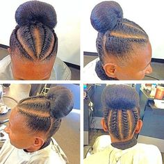 flat twists into bun updo for natural hair
