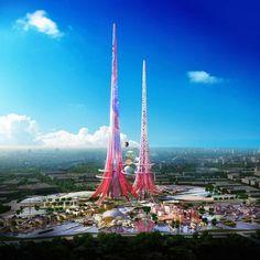 Ook niet direct plantjes, maar een wolkenkrabber die luchtverontreiniging op eet! Phoenix tower in China!