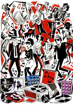 Two Tone Hunt Emerson art illustration ska music Two Tone Ska Punk, Techno, Genre Musical, Ska Music, Skinhead Girl, Skinhead Reggae, Skinhead Fashion, One Step Beyond, Laurel