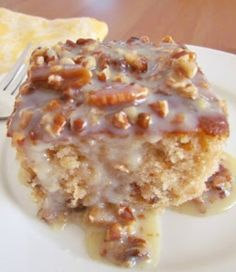 Southern Pecan Praline Cake with Butter Sauce---oh my word--I'm back to lure carbs--I want this for my birthday