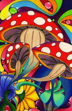 Psychedelic art…mushrooms – color of life Kunst Inspo, Art Inspo, Trippy Drawings, Art Drawings, Psychedelic Art, Trippy Mushrooms, Trippy Painting, Mushroom Art, Psy Art