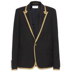 Saint Laurent - Wool blazer - The classic black blazer is updated with a sparkly gold trim. - @ www.mytheresa.com
