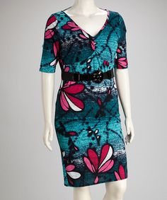 Take a look at this Teal Floral Belted Dress - Plus by Tua Plus on #zulily today! $22.99, regular 50.00