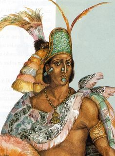 Moctezuma II was the ninth ruler of Tenochtitlan. He was ruler when the Aztec Empire reached its maximal size. He spread the empire very far south using warfare. Moctezuma Ii, Ancient Aztecs, Ancient Civilizations, Ancient History, Aztec Headdress, Aztec History, Aztec Empire, Aztec Culture, Aztec Warrior