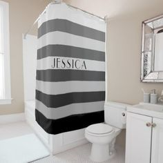 #monogram - #Gray Striped Pattern Personalized Name Shower Curtain